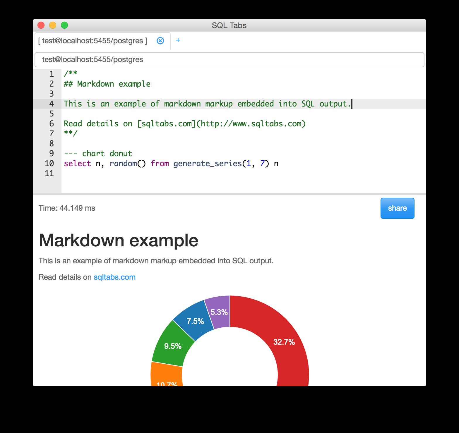 开源跨平台的Postgresql桌面客户端:SQL Tabs
