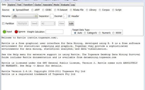 Rattle :基于R的数据挖掘工具:简介和安装