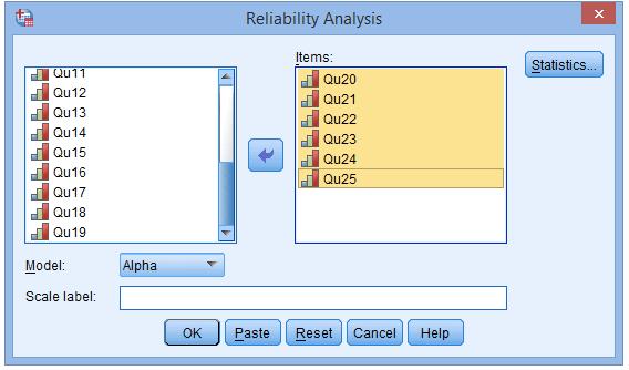 SPSS操作:问卷的信度分析『克朗巴哈系数(Cronbach's α)』